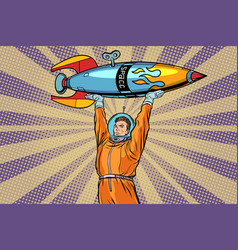 astronaut holding a space rocket vector image