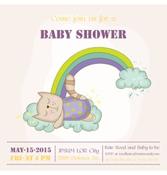 Baby cat sleeping on a rainbow - baby shower vector