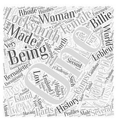 Being a Woman Locksmith Word Cloud Concept vector image vector image