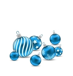 Christmas ornamental blue balls on white vector