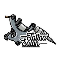 Color vintage tattoo shop emblem vector