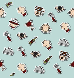 Colored restaurant concept icons pattern vector