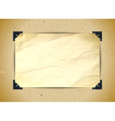 Crumpled paper with photo corners vector image