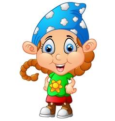 Cute girl cartoon posing vector image vector image