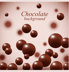 Dark chocolate balls on colorful background vector