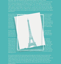 eiffel tower in the frame vector image