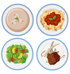 Four plates of different food vector