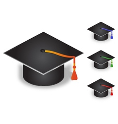 Graduation Cap with four color tassel vector image