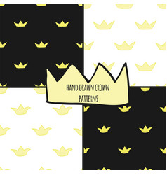 Hand drawn crowns seamless pattern set vector
