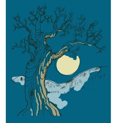 Hand drawn tree symbol isolated vector image