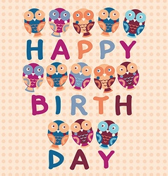 Happy birthday card cute owls blue pink purple vector