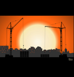 High detailed hoisting cranes building the town vector