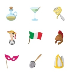 Holiday in venice icons set cartoon style vector