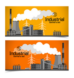 Industrial manufacturing horizontal banners vector