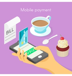 isometric 3d concept for mobile online payment vector image vector image