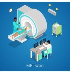 Isometric medical mri scanner imaging process vector