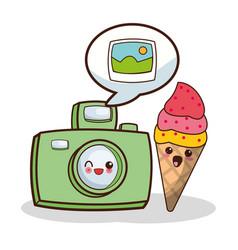 Kawaii photo camera and ice cream image vector