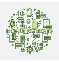Mobile payments circular sign vector