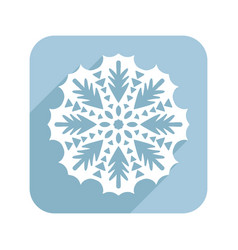 Patterned snowflake lace doily flat vector