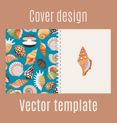 Realistic sea shell pattern cover design vector
