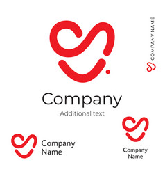 Red heart line logo modern love identity brand vector