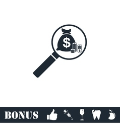 Search money icon flat vector image vector image