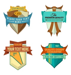 Set of logo retro ribbon labels and vintage vector