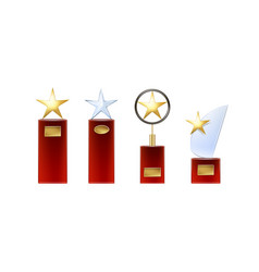 Set of star trophies vector