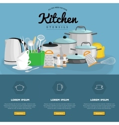 set of steel and plastic kitchen utensils for vector image vector image