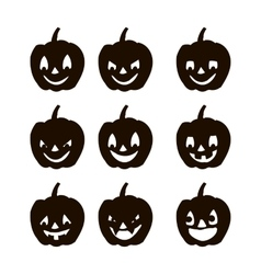 Set pumpkins silhouette icons of the day halloween vector