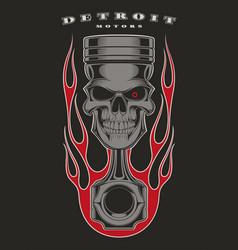 Skull piston biker emblem vector