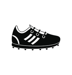 Soccer shoes black simple icon vector