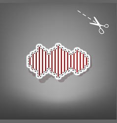 sound waves icon red icon with for vector image vector image