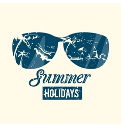 Summer emblem with grunge texture vector image