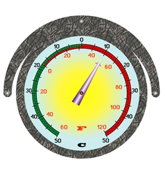 The round iron thermometer vector image