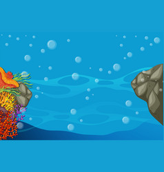 Underwater scene with colorful coral reef vector