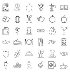 vegetarian cafe icons set outline style vector image vector image