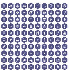 100 fire icons hexagon purple vector