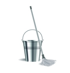 Bucket and mop on white background vector image