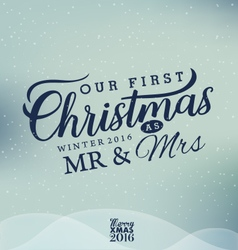 Our First Christmas as Mr and Mrs Christmas Design vector image