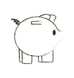 piggy save money bank sketch vector image