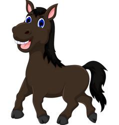 funny horse cartoon walking vector image