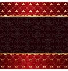 Vintage luxury red damask background with frame of vector