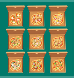 Pizza box cardboard carton vector