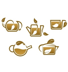 Herbal tea symbols and icons vector