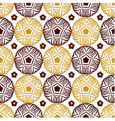 Seamless decorative circle pattern with gold vector