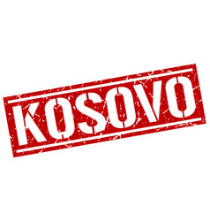 Kosovo red square stamp vector