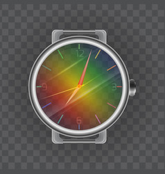 Realistic of a wristwatch rainbow transparent cloc vector