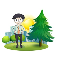 A man standing beside the pine tree vector image
