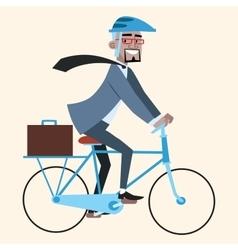 Black businessman on bike rides to work vector image